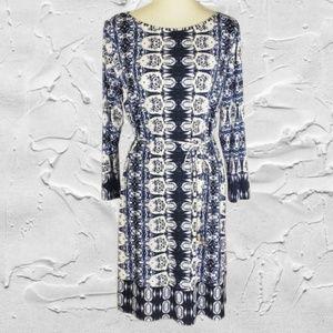 Ivanka Trump Long Sleeve Belted Blue Dress Sz L